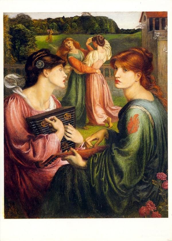 Peinture - The Bower Meadow - Dante Gabriel Rossetti (1828 - 1882)